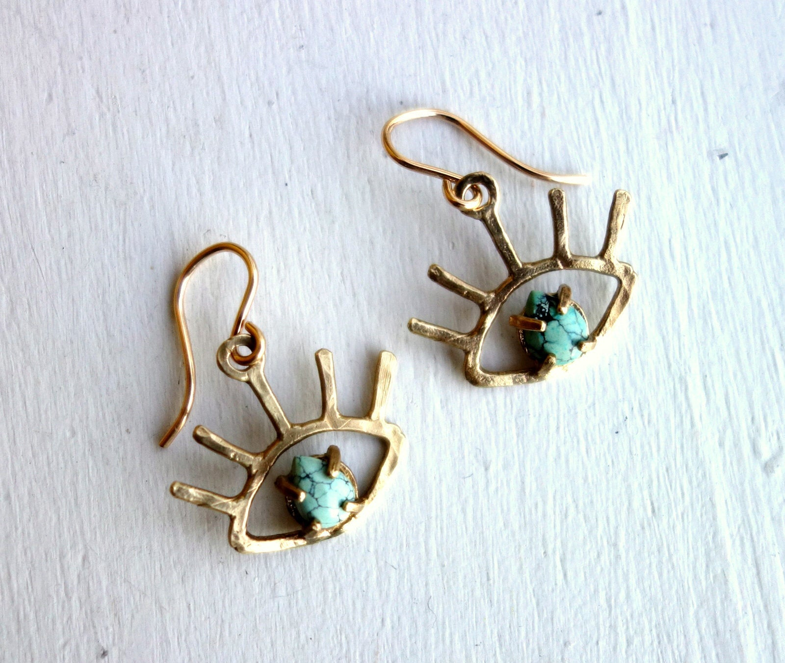 Gold Turquoise Beholder Eye Dangle Earrings