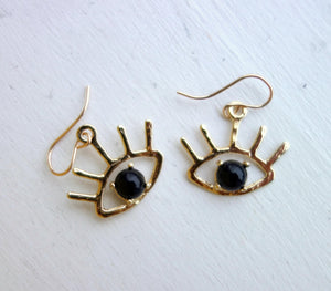 Beholder Earrings: Brass and Black Onyx Eye Dangle Earrings