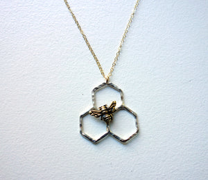 Sterling Silver Honeycomb Three Cell Comb Pendant with Gold Plated Bee by Rachel Pfeffer