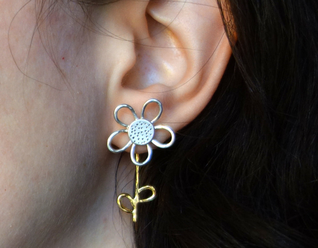 Silver and Gold Daisy Flower Stud with Stem and Petal Ear Jacket- Two Toned Florist Earrings