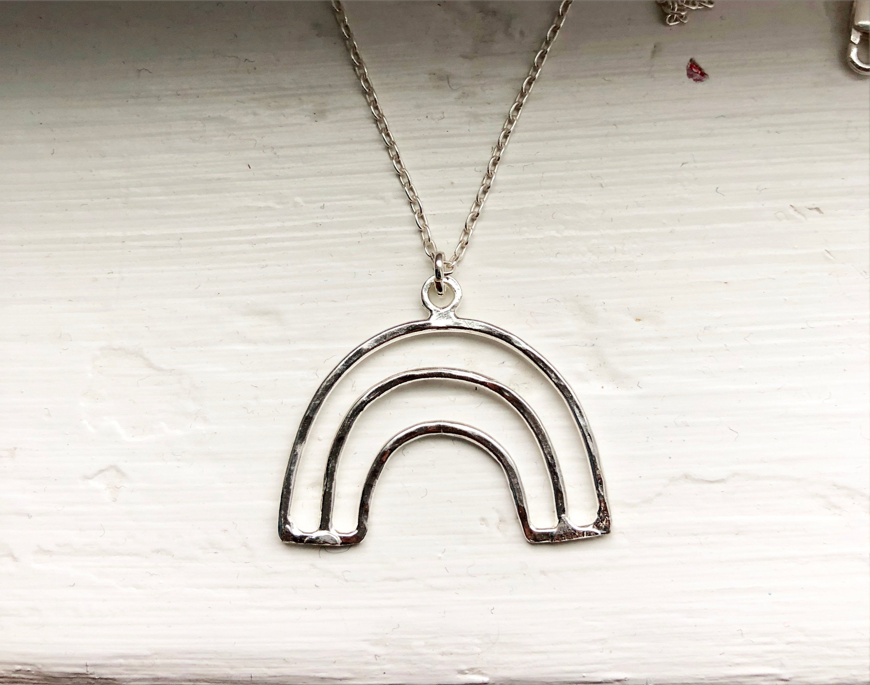 Minimalist Rainbow Necklace in sterling silver