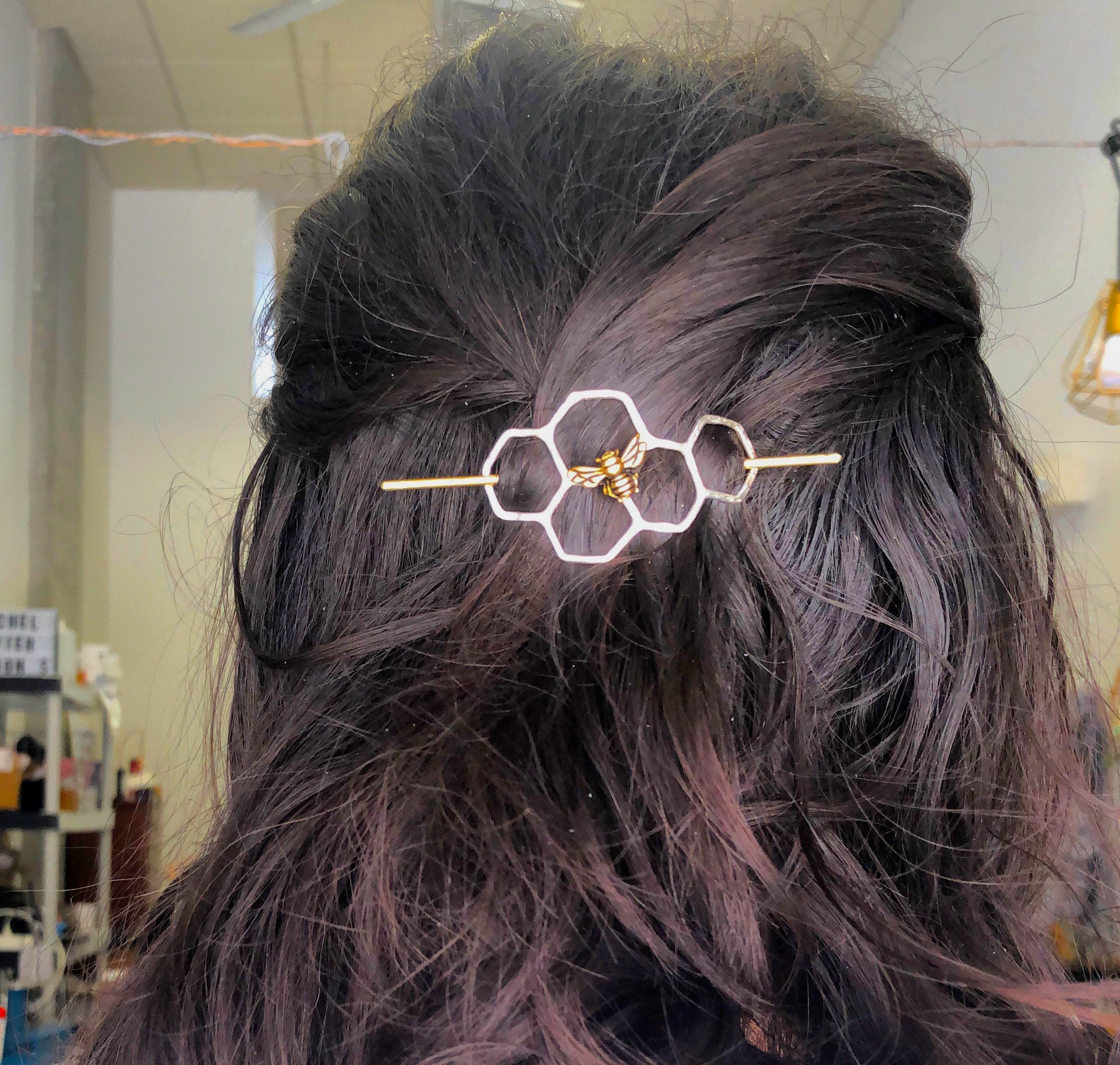Silver Honeycomb Hair Slide