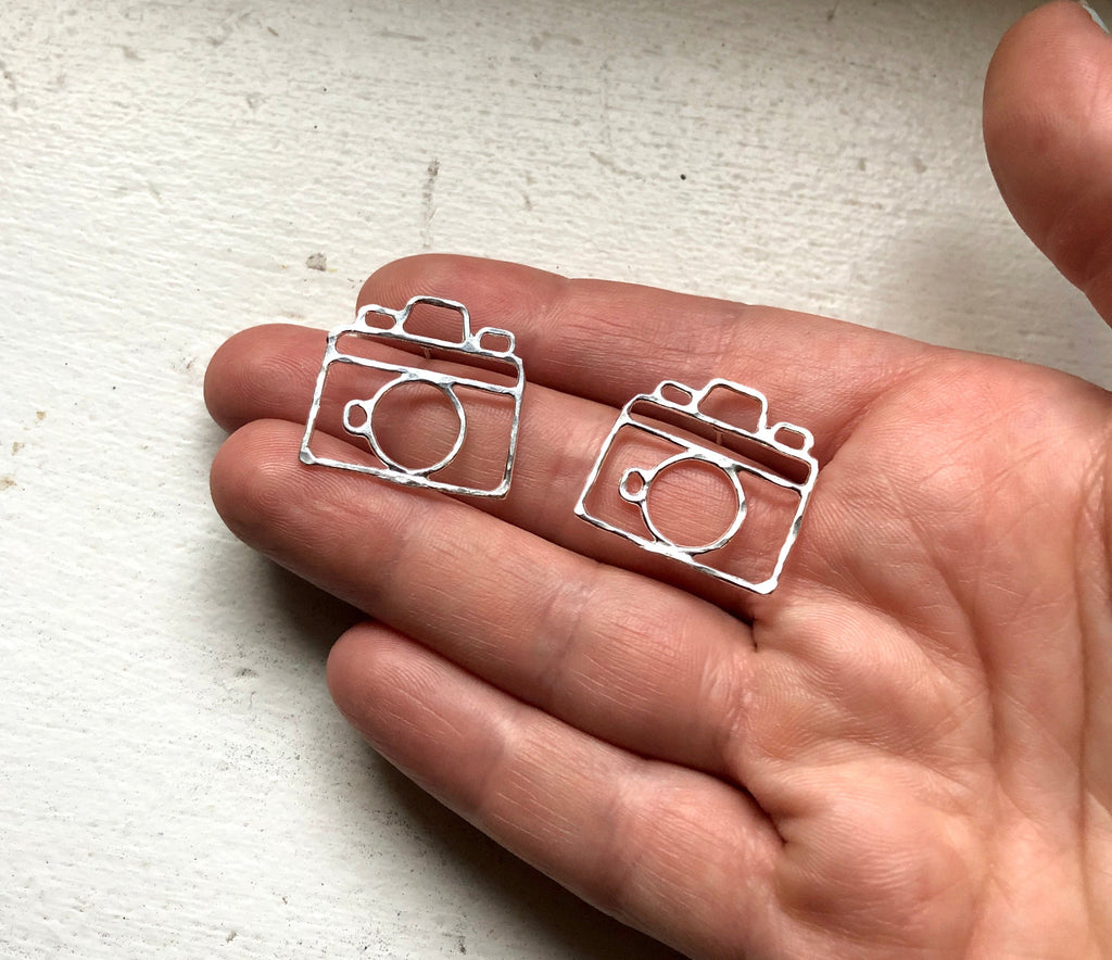 Camera Earrings Handmade Sterling Silver Old Fashioned Camera Photographer Jewelry