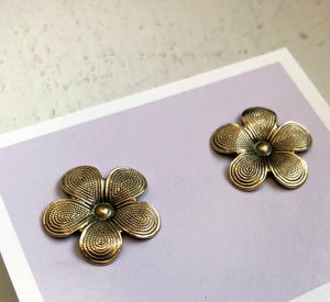 Antiqued Brass Flower Studs