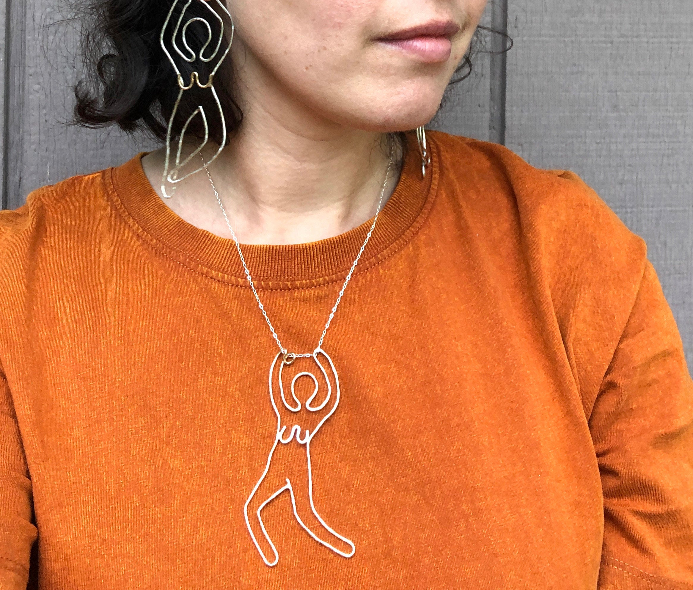 Dancing Queen Necklace Handmade Sculptural Dancing Form One of a Kind Abstract Necklace