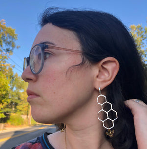 Honeycomb Hoop Dangles in Sterling Silver with Gold Plated Honey Bees with Huggie  Hoops