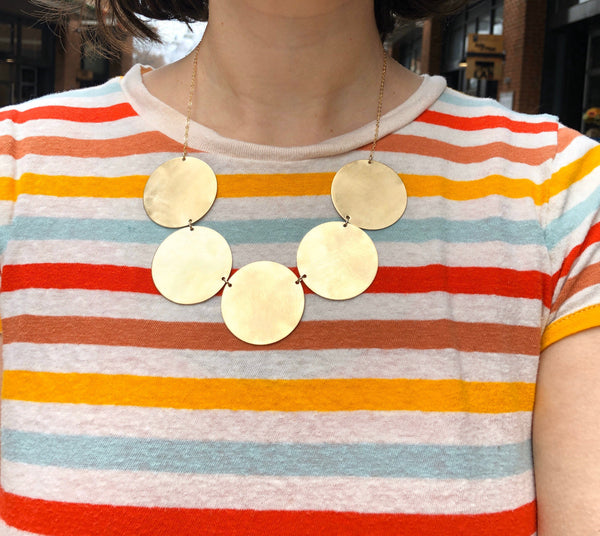 Five Disc Necklace Handmade Brass and 14k Goldfill statement necklace