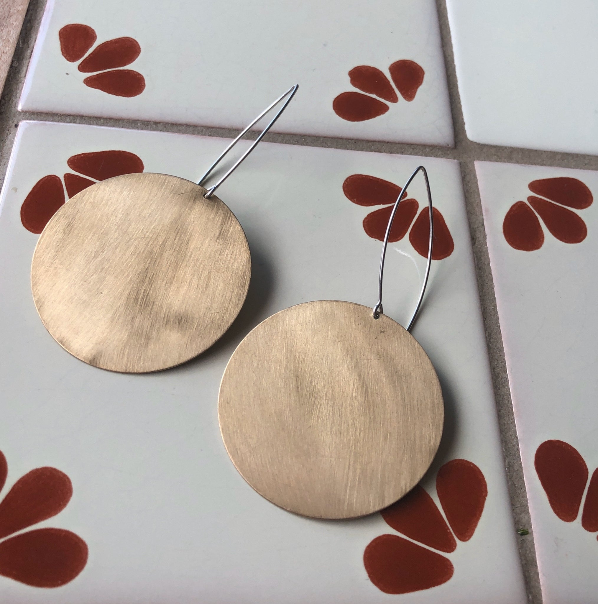 Big Brass Disc Dangles with Long Sterling Ear Wires
