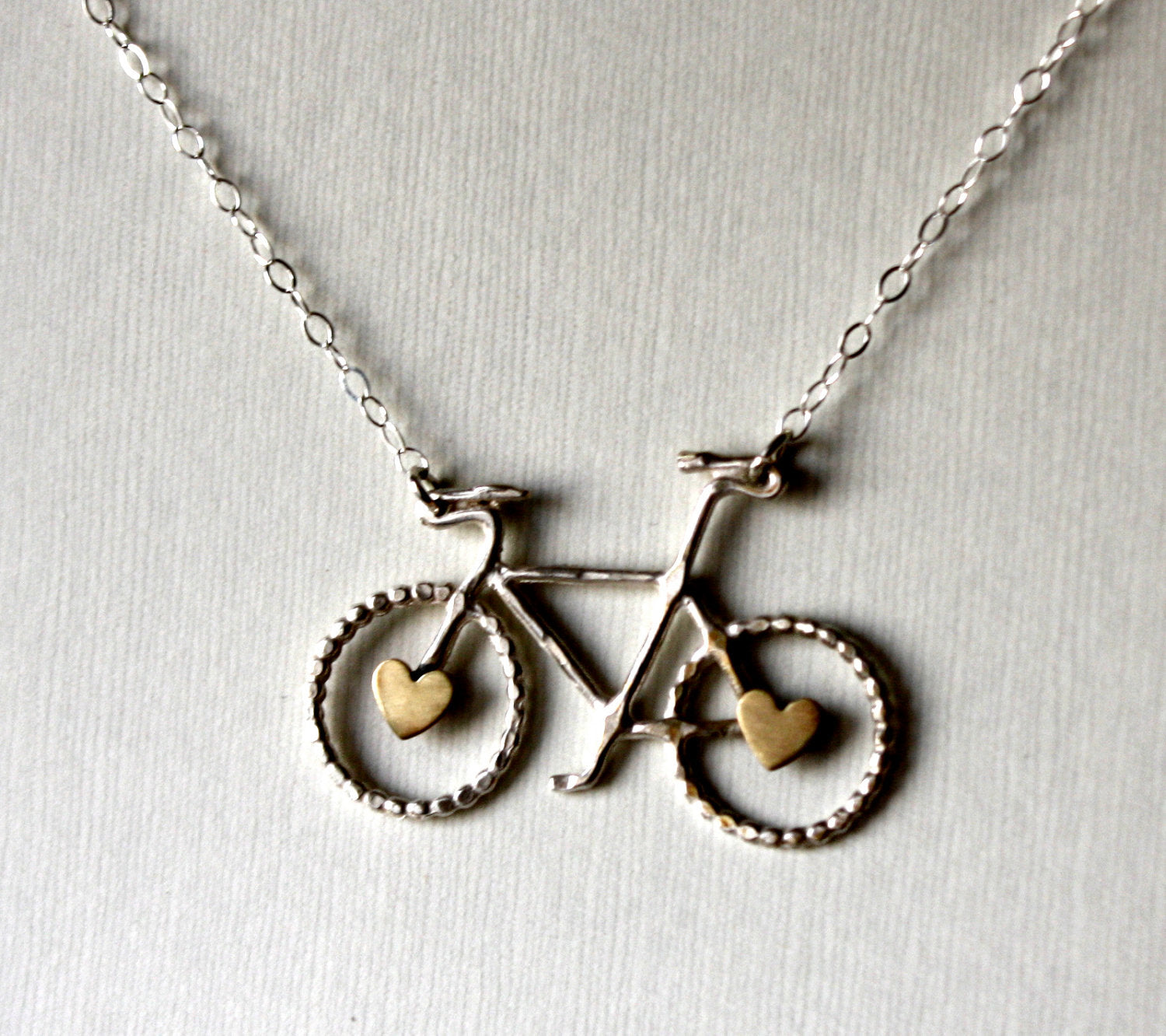 Ready to Ship- Le Petit Bike Necklace with Hearts by Rachel Pfeffer