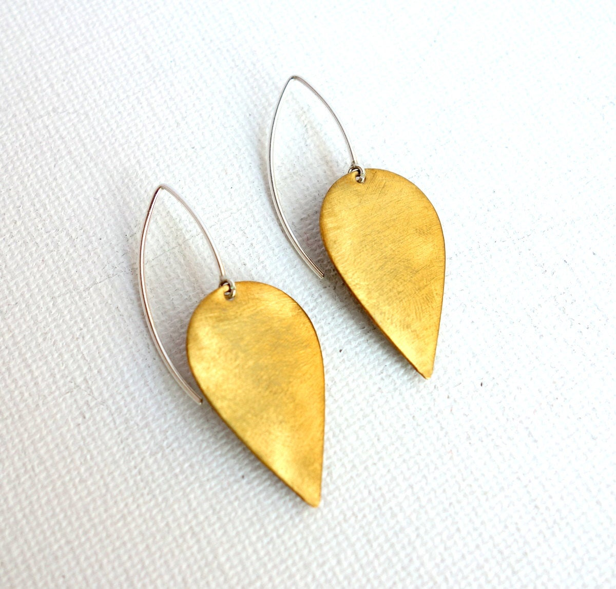 Brushed Brass Petal Drop Earrings- Sterling Silver and Brass