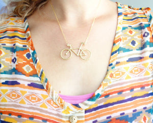 Original Rachel Pfeffer Brass Bike Necklace on 16 Gold Filled Chain