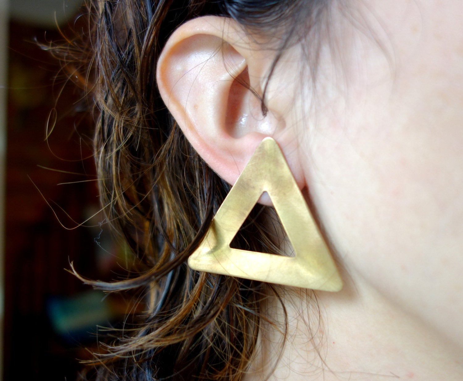 Large Open Brass Triangle Studs