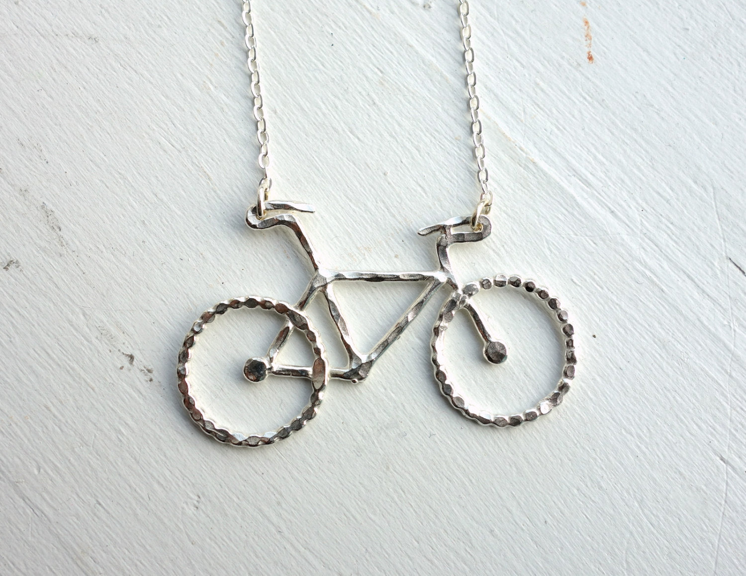Handmade Sterling Silver Bike Necklace- Rachel Pfeffer, Bicycle, bike jewelry, bike necklace