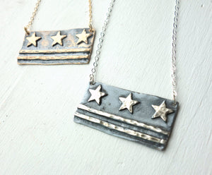 Large DC Flag Necklace in Sterling or Brass