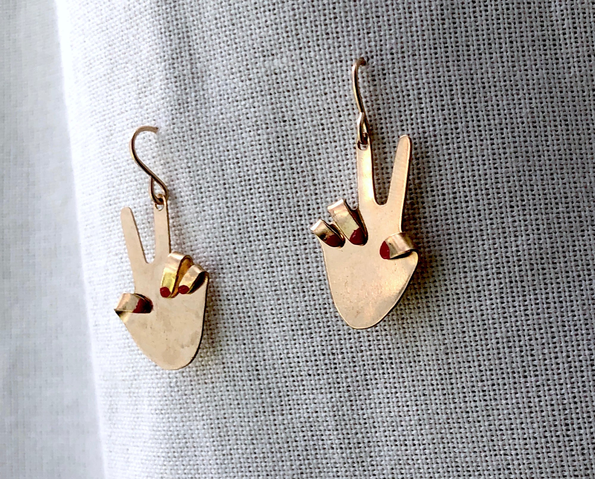 Peace Sign Hand Earrings