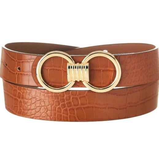 Hooked on You Belt: Cognac Croc - Bella and Bloom Boutique