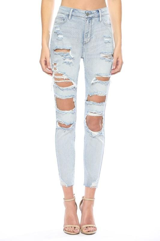 RESTOCK: Karina Distressed Denim: Light Wash - Bella and Bloom Boutique