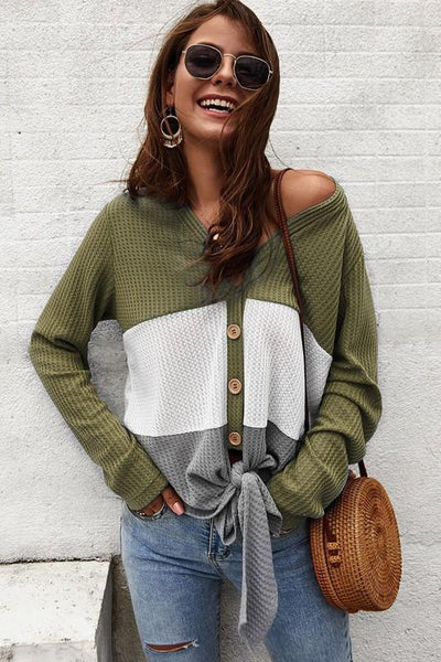 RESTOCK: Colorblock Thermal Top: Olive/Ivory - Bella and Bloom Boutique