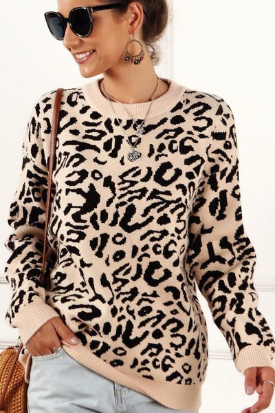 On the Prowl Sweater: Tan Leopard - Bella and Bloom Boutique