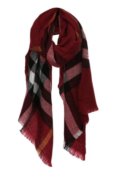 Classic Plaid Tartan Scarf: Burgundy - Bella and Bloom Boutique