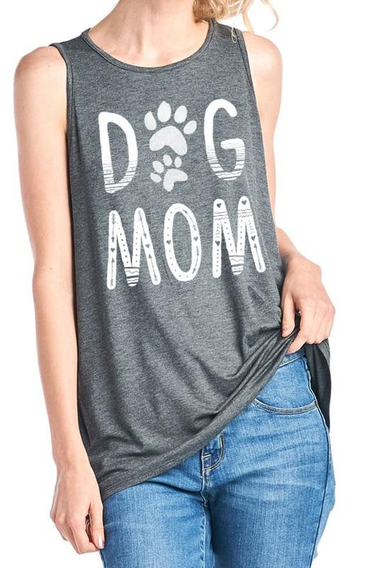 Dog Mom Tank: Charcoal - Bella and Bloom Boutique