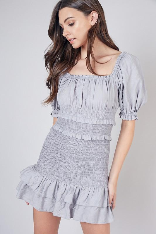 Dreamcatcher Smocked Dress: Dove Gray - Bella and Bloom Boutique