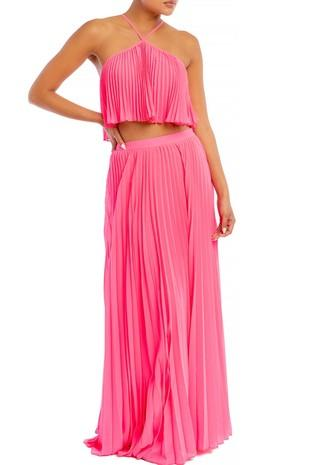 Dreamer Pleated Two Piece Set: Fuschia - Bella and Bloom Boutique
