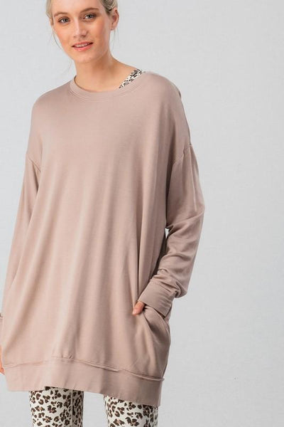Cozy Livin' Sweater Tunic: Mocha - Bella and Bloom Boutique