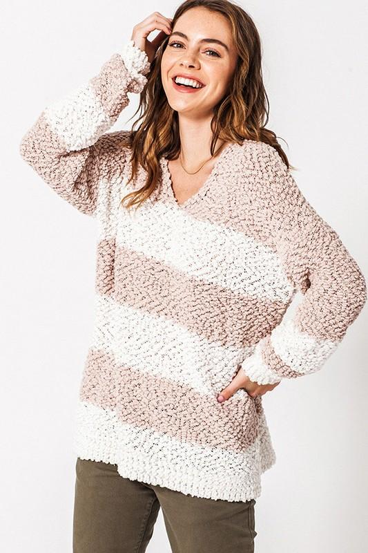 RESTOCK: Cozy Winter Sweater: Taupe/Ivory - Bella and Bloom Boutique