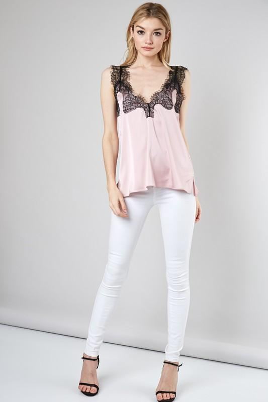 Delicate Lace Satin Cami: Blush - Bella and Bloom Boutique