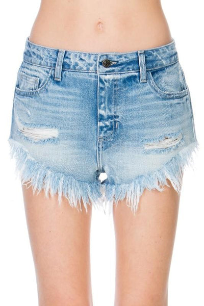 Cassie Denim Short: Light Wash - Bella and Bloom Boutique
