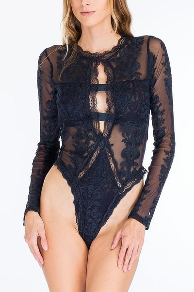 Delicate Bodysuit: Navy - Bella and Bloom Boutique