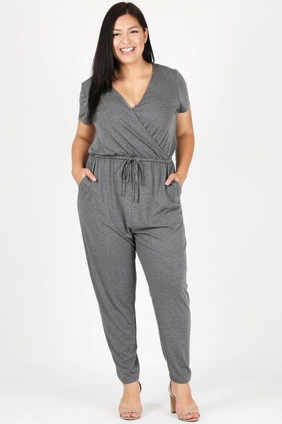 Cozy Days Jumpsuit: Charcoal - Bella and Bloom Boutique