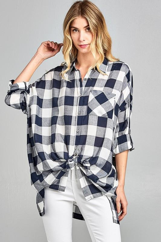 Fall Gingham Top: Black/White