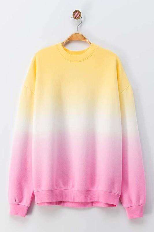 RESTOCK: Tie Dye Pullover: Yellow/Pink - Bella and Bloom Boutique