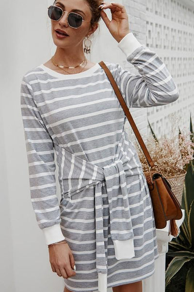 RESTOCK: Casual Cutie Striped Dress: Gray/White - Bella and Bloom Boutique