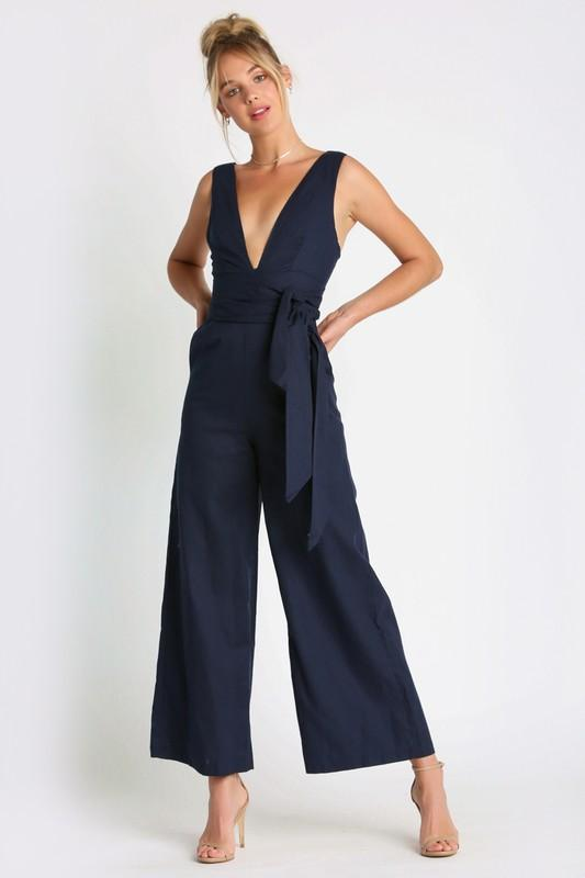 Chic Queen Jumpsuit: Navy - Bella and Bloom Boutique