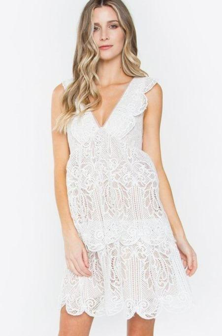 Kiss and Tell Lace Dress: Ivory - Bella and Bloom Boutique