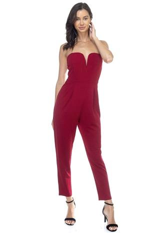 Sultry Nights Jumpsuit: Deep Red - Bella and Bloom Boutique