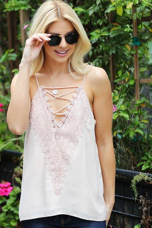 RESTOCK: Lace Me Up Cami: Blush - Bella and Bloom Boutique