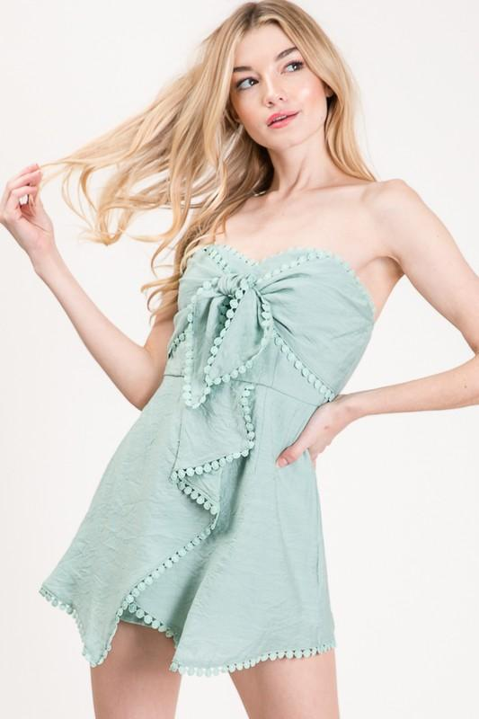 Put a Bow on It Romper: Sage - Bella and Bloom Boutique
