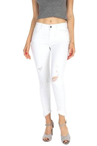 Juliana Destroyed Denim: White - Bella and Bloom Boutique