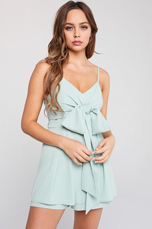Bow Me Away Romper: Sage - Bella and Bloom Boutique