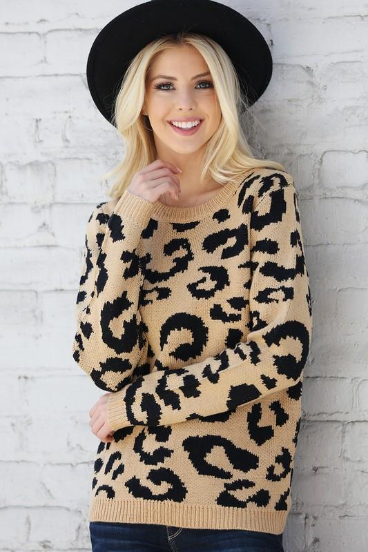 Signature Leopard Sweater: Tan/Black - Bella and Bloom Boutique