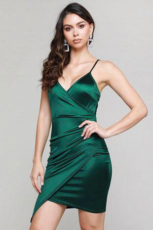 Where Your Love Lies Satin Dress: Emerald - Bella and Bloom Boutique