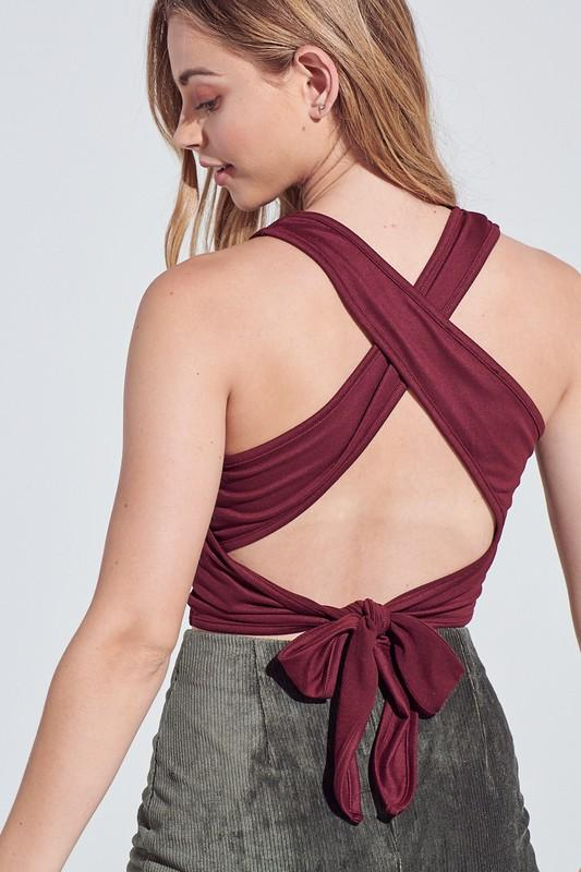 Party in the Back Crop Top: Burgundy - Bella and Bloom Boutique