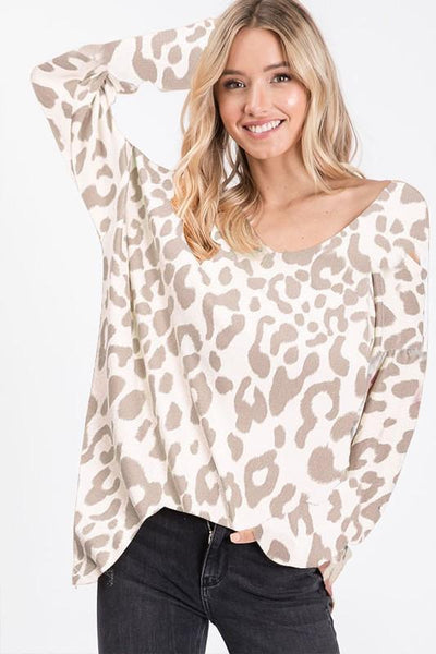RESTOCK: Make My Move Leopard Top: Ivory/Taupe - Bella and Bloom Boutique