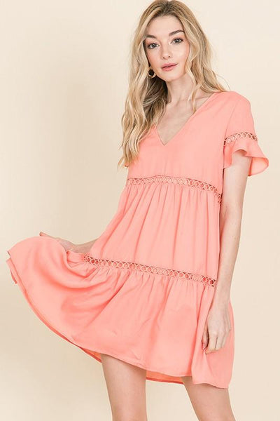 Liliana Babydoll Dress: Peach - Bella and Bloom Boutique