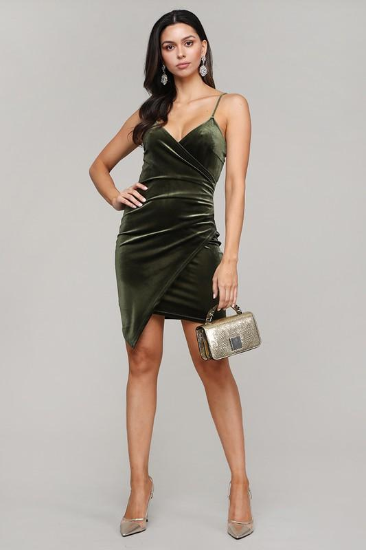 Where Your Love Lies Velvet Dress: Olive - Bella and Bloom Boutique
