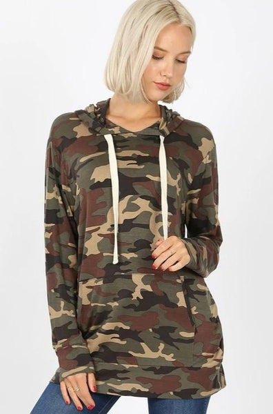 Casual Crush Lightweight Hoodie Top: Camo - Bella and Bloom Boutique